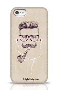 Hipster With Smoking Pipe And Earphones Apple iPhone 5 Phone Case