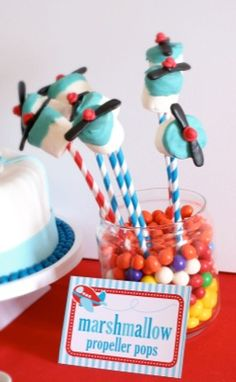 Airplane Party Theme by Vens' Paperie: love the marshmallow propeller pops