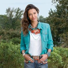 Andes Loco Biker Jacket - Turquoise AND Beautiful with Turquoise. Jeans and Cowboy boots - Yes!