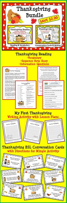 Thanksgiving Bundle: Reading/ Vocabulary/ Conversation Cards/ Writing Activity  $5.00