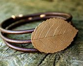 Bronze Rose Leaf Bracelet Eco Friendly by SilkstoneDesigns
