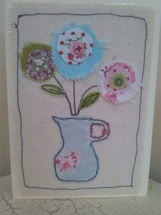 Mothers Day Card Handmade card Textile by SewSweetbySuzanne Embroidery Cards, Free Motion Embroidery, Embroidery Applique, Fabric Postcards, Fabric Cards, Freehand Machine Embroidery, Free Machine Embroidery, Rickrack, Mothering Sunday