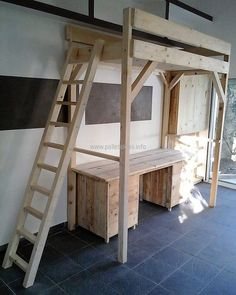 wood pallet bunk bed, table and closet 2