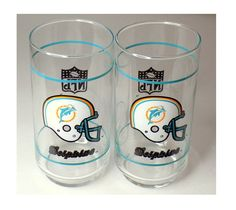 1970s Miami Dolphins Mobil Glasses Set of 2 by TimeEnoughAtLast