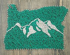 State String Art With Mountain Range. | Rustic Decor | Lodge | Wall Decor | Washington | Oregon | Mountain String Art Mountain Art | Skiing