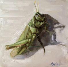 "Daily Paintworks - ""Grasshopper - Oil on Gessobord Panel by Margot King"" - Original Fine Art for Sale - © Margot King"