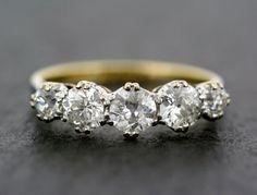 Antique Diamond Ring - Edwardian Five-stone Diamond Anniversary Ring 18ct Gold & Platinum