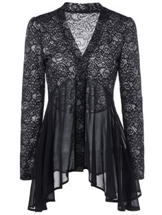 Button Up Floral Lace Blouse