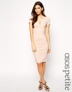 Image 1 of ASOS PETITE Exclusive Sexy Midi Pencil Dress with Deep V Neck