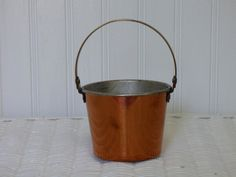 Brass and Copper Pail - Adjustable Handle - Clean Condition - Suitable for Table Decor - Copper and Brass - Nice Design - Nice Size - Clean by ChicAvantGarde on Etsy