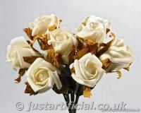 Artificial Rose Bud Bouquet - ivory