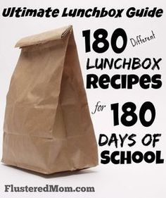 The Ultimate Lunchbox Guide: 180 Different Lunchbox Meal Recipes for All 180 Days of School. FlusteredMom.com