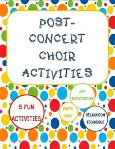 This packet includes 5 different music-related activities to fill time after concerts or at the end of the school year. Some activities are group-building while others are individual. *This game is included in the Choir Games Growing Bundle*