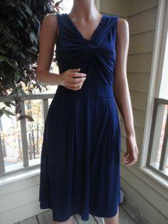 813ceb4947e1 DELETTA Anthropologie Navy Blue Pima Cotton Pocket Dress Size Small SHIPS  FREE!! Gore Tex