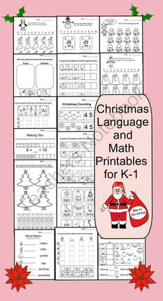 15 Christmas Printable Math and Language Pages by Carmela Fiorino Vieira Teaching First Grade, Teaching Kindergarten, Teaching Ideas, Christmas Math, Christmas Words, Christmas Crafts, Language Activities, Book Activities, Rhyming Words