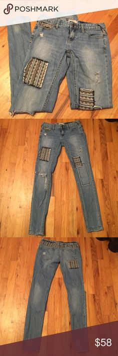SALE Free People Patched Ripped Jeans These will be the coolest pair of jeans you own. You will get so many compliments when you wear them. They are in good used condition. There is some lightening of the fabric in some spots (pictured), but other than that they are great. Please feel free to make an offer.  Free People Jeans Skinny