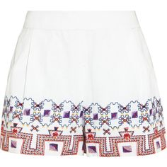 Suno Embroidered cotton shorts ($190) ❤ liked on Polyvore featuring shorts, white, zipper shorts, white cotton shorts, loose cotton shorts, high-waisted shorts and white shorts