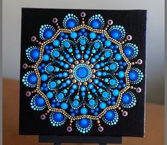 Blooming dahlia dot Mandala on canvas board 8 x 8 Mandala Painted Rocks, Mandala Rocks, Dot Art Painting, Mandala Painting, Mandala Pattern, Mandala Design, Mandala Art Lesson, Mandala Canvas, Chakras