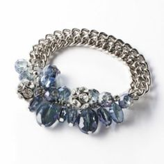 Simply Vera Vera Wang Silver Tone Simulated Crystal & Bead Cluster Stretch Bracelet