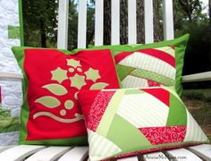 Using up scraps for Christmas pillows.  My very 1st applique project ever plus Hex Log Cabins.