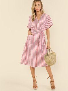 Button Up Pocket Front Belted Striped Dress -SheIn(Sheinside)