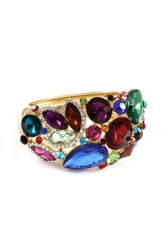 """Magnolia Bracelet  Gorgeously stunning Ruby, Raspberry, Champagne, Amethyst, Aquamarine, Teal and Sapphire Crystals set against Gold.  BRACELET WIDTH: 1 1/2"""""""