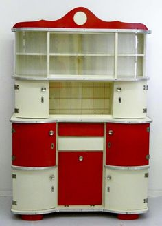 Red Retro Kitchen Appliances , Red Kitchen Cabinets , Black And White Vintage Kitchen Cabinets, Kitchen Dresser, Vintage Kitchen Decor, Retro Home Decor, Retro Dresser, Vintage Cabinet, Red And White Kitchen, Red Kitchen, Kitchen Dining