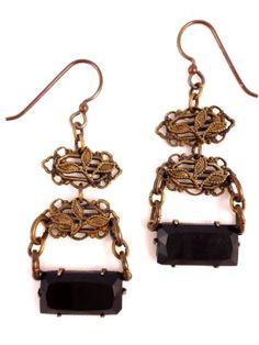 Brass Vintage Black Czech Glass Drop Earrings, Emerald Cut