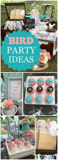 What a gorgeous vintage garden bird baby shower! See more party ideas at CatchMyParty.com!