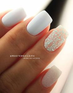 The design of the bridal nails is something every woman likes and admires.,The design of the bridal nails is something every woman likes and admires. Every woman feels a little mature and elegant. When you talk about the brid. Simple Wedding Nails, Wedding Day Nails, Wedding Nails Design, Wedding Manicure, Bridal Nails Designs, Nail Art Designs, Bridal Nail Art, Cute Nails, Pretty Nails