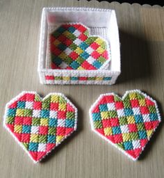 Patchwork Heart Coasters & holder Set