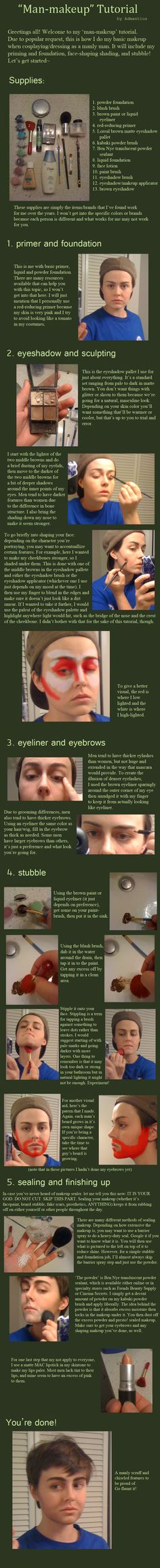 'Man-Makeup' and Stubble Tutorial by Admantius.deviantart.com on @deviantART