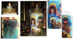 Presépio castiçal, pintado no vidro, com aplicação de folhas em porcelana fria,e laço em tecido.
