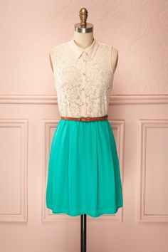Émerentine - Cream lace and teal skirt dress with belt | Boutique 1861