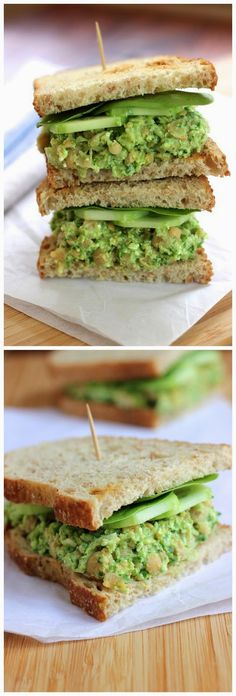 Smashed Chickpea Avocado Sandwich Ingredients 1 avocado - pit removed and scooped from peel 2 scallions . Vegetarian Recipes, Cooking Recipes, Healthy Recipes, Great Recipes, Favorite Recipes, Recipe Ideas, Healthy Snacks, Healthy Eating, Sandwiches