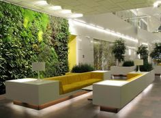 A living wall, or vertical garden, is a selection of wall-mounted plants. Vertical wall gardens are the newest trend in home design and are the perfect way to bring a little bit of the outdoors in. Design Entrée, Wall Design, House Design, Design Ideas, Design Room, Plant Design, Creative Design, Hotel Lobby Design, Vertical Garden Design