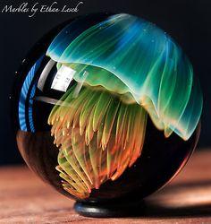 JELLYFISAH MARBLE SIGNED BY ~ETHAN LESCH~ BOROSILICATE, BORO, ART, MIB