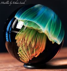 JELLYFISAH MARBLE SIGNED BY ~ETHAN LESCH~ BOROSILICATE, BORO, ART, MIB