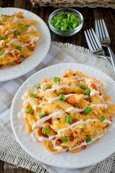 Cheese, hot sauce, and chicken gives this Buffalo Chicken Pasta Bake a delicious taste. Easy dinner recipe for busy nights!