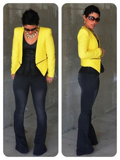 OOTD: Leather   Denim   Yellow Pop