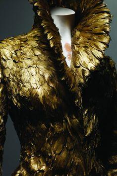 Alexander McQueen gilded duck feather coat
