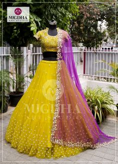 Beautiful yellow color lehenga and blouse with purple color dupatta. lehenga and blouse with rich hand embroidery work. They make sure there s something about each dress that ignites the brides imagination !For Order:Whats app 8142029190 / 14 August 2018 Kids Lehenga Choli, Half Saree Lehenga, Lehenga Gown, Lehnga Dress, Bridal Lehenga Choli, Indian Lehenga, Sari, Lehenga For Girls, Saree Wedding