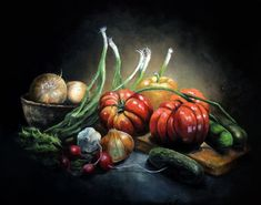 """""""Still Life With Heirloom Tomatoes"""" - oil on canvas Heirloom Tomatoes, Still Life, Oil On Canvas, Graphic Design, Drawings, Artwork, Painting, Sketches, Work Of Art"""