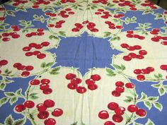 Vintage tablecloth, blue white & red cherries