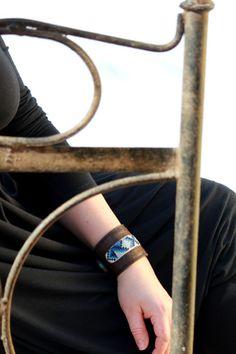 Hand cuff bracelet, wrist cuff bracelet, womens leather and embroidery bracelet. £37.00, via Etsy.