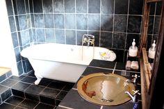 Romantic black tiled bathroom with Victorian bath. Black Tile Bathrooms, Victorian Bath, Black Tiles, Breath In Breath Out, Beautiful Bathrooms, Bathtub, Romantic, Standing Bath, Bathtubs