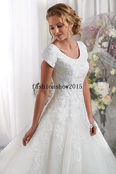 Modest Short Sleeves Wedding Dresses Bridal Gown Custom SZ6 8 10 11 12 14 16 18 | eBay