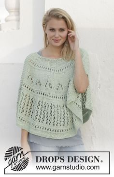 A sweet and light poncho with #lace pattern in DROPS Paris by #garnstudio #knitting #ss2014