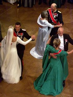Royal wedding of Crown Prince Haakon to Mette Marit. MM's parents and Haakon's parents King Harald and Queen Sonja (green)