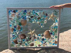 Free shipping- Large Beach glass Coastal Window,mixed media sea glass mosaic, Glass Art